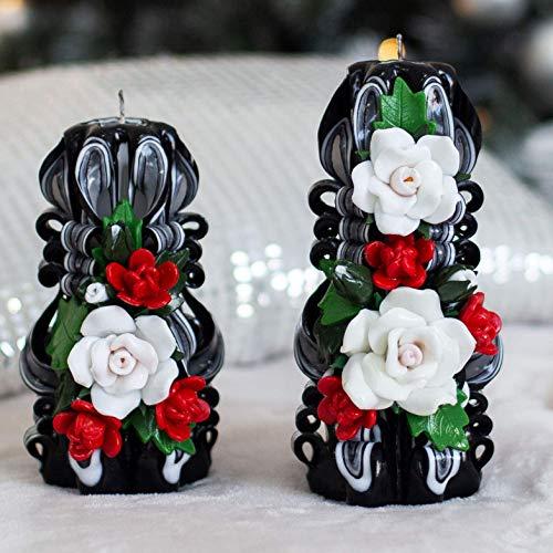 Handarbeit geschnitzte Kerze Bouquet schwarz weiß mit Rosen. Handmade Deko und Geschenk für Frau, Mutter, Großmutter, Patin