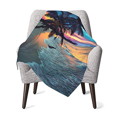 DYPOHJLRBJ Coconut Beach Sunset Hammock Super Soft Toddler Newborn 30 x 40 inch Baby Blankets for Boys and Girls, Plush Swaddling Blanket for Stroller, Crib and Nursery
