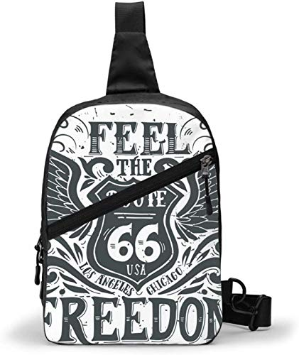 Freedom Route 66 Sling Bag,Crossbody Shoulder Chest Outdoor Hiking Travel Personal Pocket Bag for Women Men Water Resistance