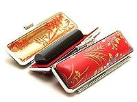 「黒水牛印鑑13.5mm×60mm赤ローケツケース(D-4)付き」 横彫り 篆書体