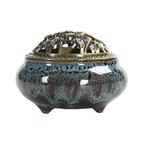 joyMerit Räuchergefäß Mit Alu Deckel Porzellan Verziert Räuchergefäß Kegel Spule Räucherstäbchen Keramik Räuchergefäß Aschenbecher Schüssel - Unregelmäßiges Muster Blau