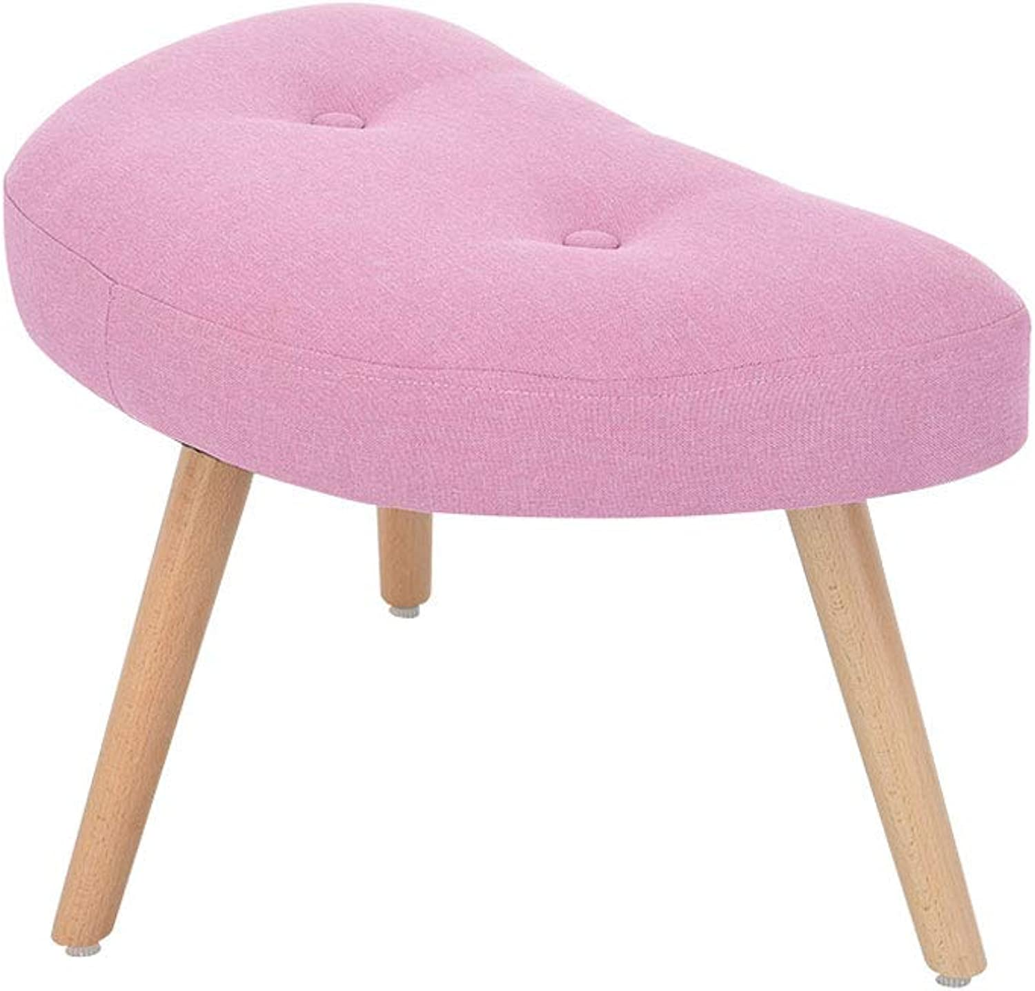 Footstool, Home Fabric shoes Bench Dressing Stool Multi-Function Living Room Sofa Footstool (color   Pink)