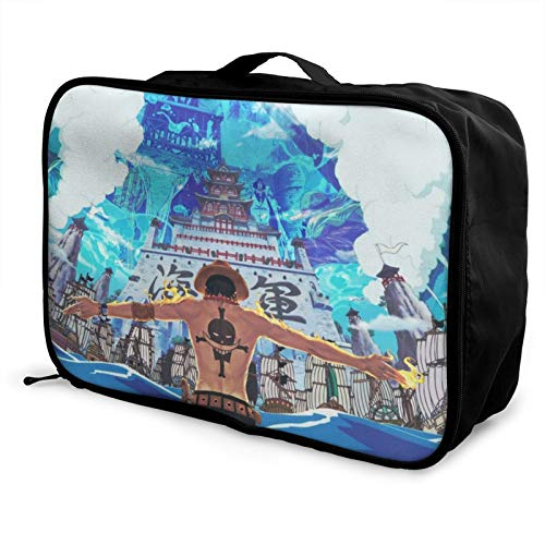 Anime Portgas D. Ace - Bolsa de viaje para equipaje portátil de una pieza, impermeable, ligera, de gran capacidad, hecha de poliéster, con patrones de impresión elegantes y exquisitos