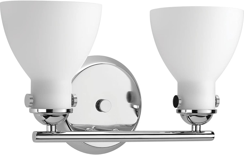Progress Lighting P2771-15 Contemporary Soft 2-100W Med Bath Bracket, Polished Chrome