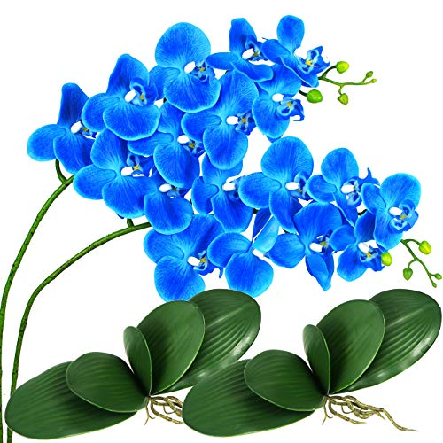 Artificial Orchid Flowers and Leaves Phalaenopsis Flower Branches Real Touch...