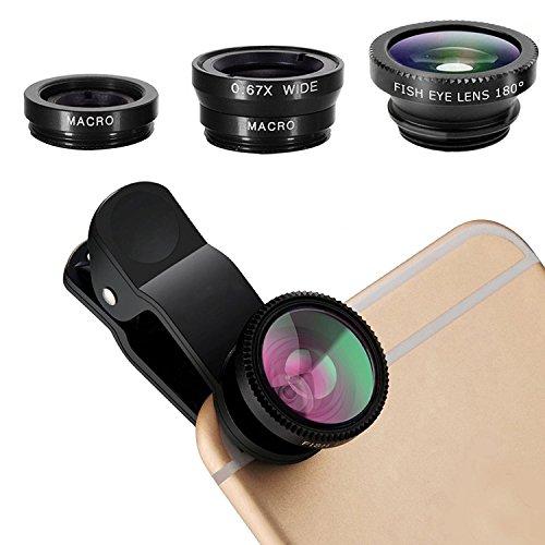 Kit 3 Lentes, Olho de Peixe, Wide e Macro para Smartphone