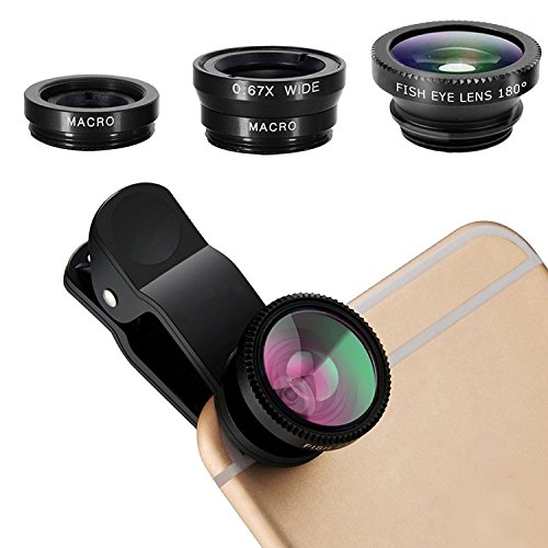 pehael 3-in-1 Clip On 180 Degree Fish Eye Lens Plus 0.67X Wide Angle Plus 10X Macro Lens, Universal HD Camera Lens Kit for iPhone 6S/6S Plus/6/Se/5/5S/Samsung/Blackberry