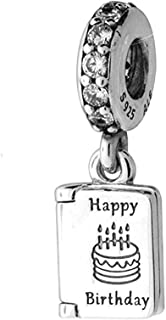 Happy Brithday Charm 925 Sterling Silver Cake charm Best Wishes book beads fit Pandora Bracelet