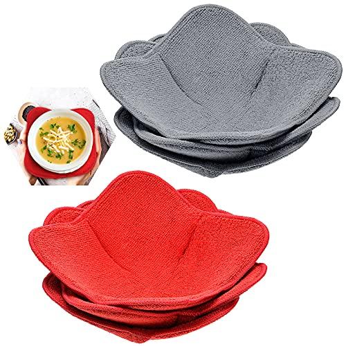 6 Pieces Bowl Huggers Sponge and Microfiber Small Bowls Holder Large Bowls Bowl Potholders for...