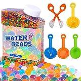TULADUO 50.000 perlas de agua para niños, no tóxicas, mezcla de arcoíris, bolas de cera, incluye 1 cuchara hueca, 3 embudos, 1 espátula para niños, juguetes sensoriales, jarrones.