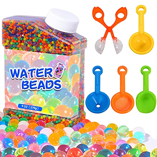 50000Pcs Water Beads for Children Non Toxic, Rainbow Mix Water Beads Growing Balls Includes 1 Hollowed-Out Spoon, 3 Funnels, 1 Spatula for Kids Tactile Sensory Toys, Vases, Plant and Home Decor