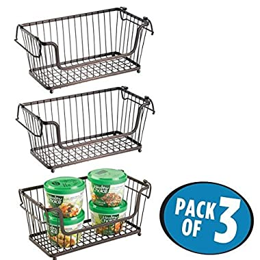 mDesign Vintage Household Stackable Metal Wire Storage Organizer Bin Basket with Handles, for Kitchen Cabinets, Pantry, Closets, Bedrooms, Bathrooms - 12 , Pack of 3, Steel - Bronze Finish