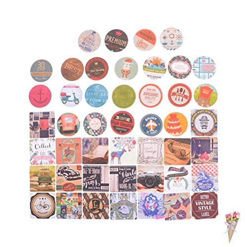 BLOUR 46 Stück/Box Aufkleber DIY Vintage Retro Stempel Aufkleber London Paris Prinz Alice Sticky Scrapbooking Papier für Kinder Toy45 * 45mm