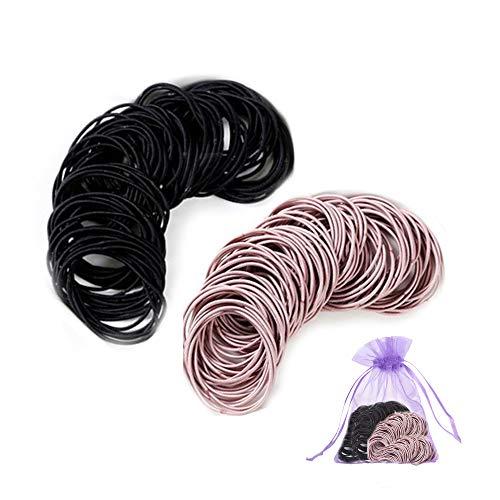 SENDILI Elastische Haargummis - 200 Stück Haar Krawatten Bands Seil Keine Falte Kein Metall für alle Haartypen Durable Strong, Mischte zwei Farben, 200 Stück/Pack