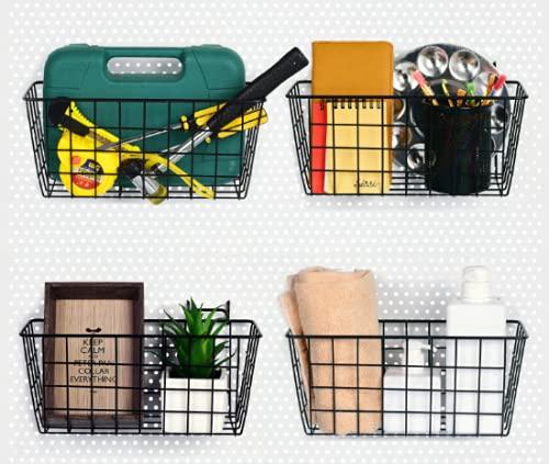 4 Pack Pegboard Baskets, Black Metal Shelves Hooks to 1/8