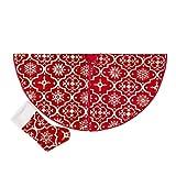 Yumira Flocon de neige imprimé pour sapin de Noël, jupe de Noël, ensemble de chaussettes pour sapin de Noël, couverture de base de sapin de Noël