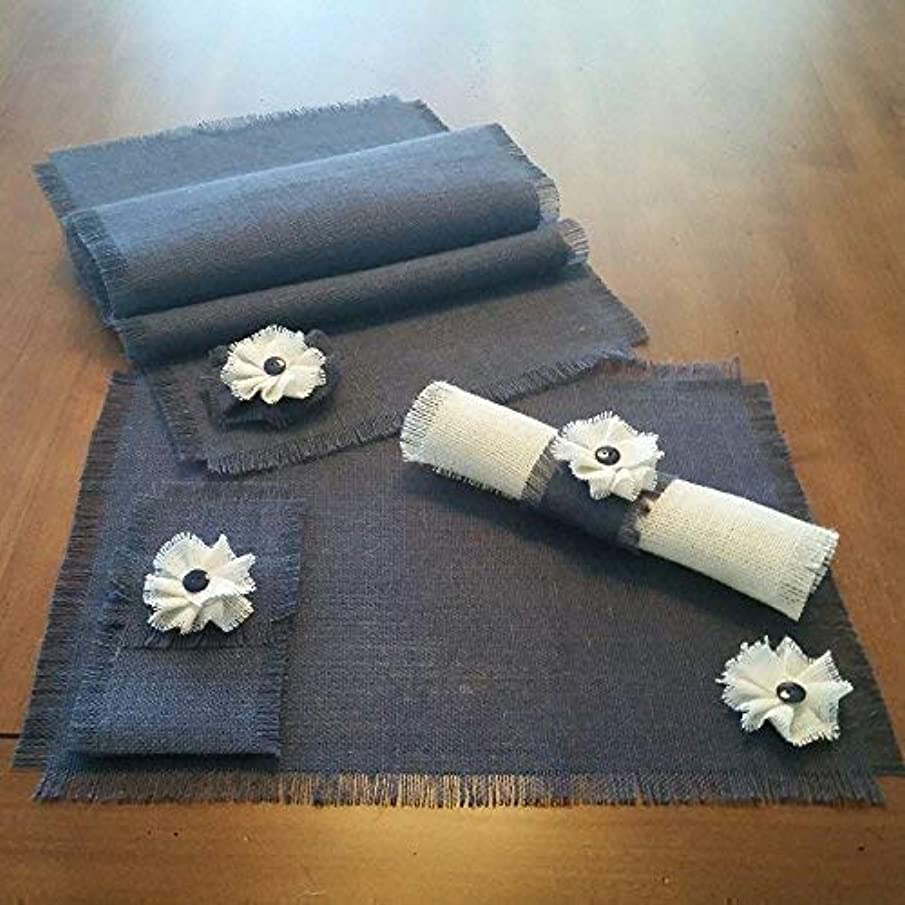 Burlap Navy Blue Shabby Chic Table Runners, Placemats, Silverware Holders and Napkin Rings with Handmade White or Natural Flower Accent (Quantities of 4 or 6)