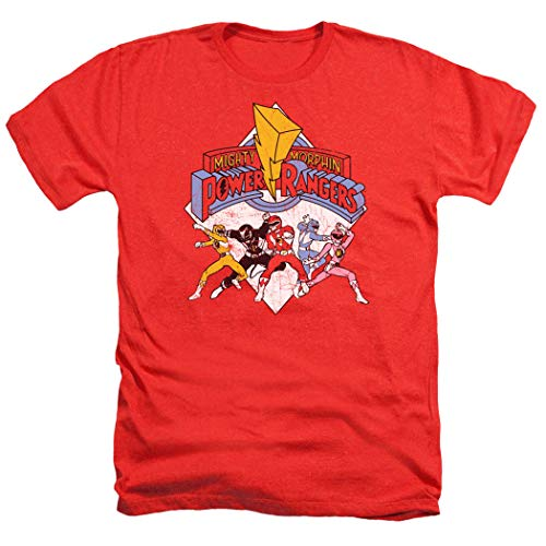 Retro Power Rangers T Shirt and Stickers (X-Large)