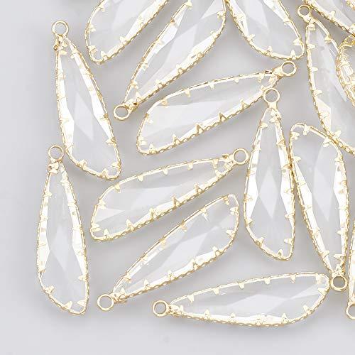 URLIFEHALL 20 piezas Real 18 K oro colgantes de vidrio facetado forma de gota colgante de Color transparente para hacer joyas DIY