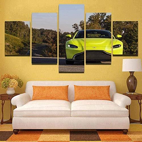 5 Piezas Lona Murales Cuadro Moderno Lienzo Vista De Matin Vantage Green Sport Cars Arte Pared Alta Definición Pintura Decorativa Home Dormitorio Óleo Lona Pintura Mural Regalos(Enmarcado)
