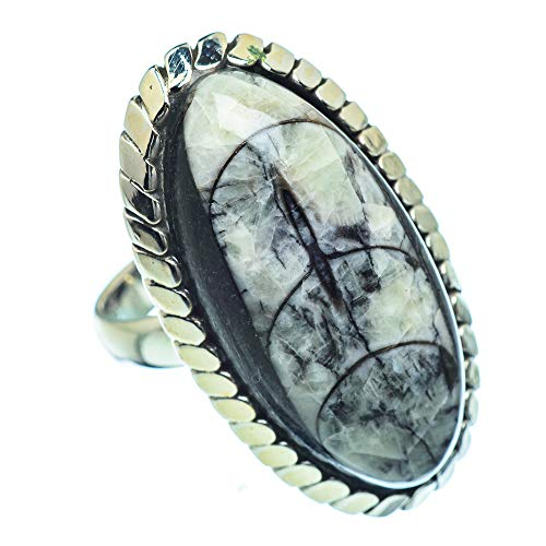 Ana Silver Co Large Orthoceras Fossil Ring Size O (925 Sterling Silver)