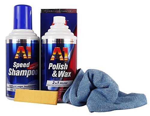 Dr. Wack A1 Polish & Wax Wachs 500 ml & A1 Speed Shampoo 500 ml & Mikrofasertuch
