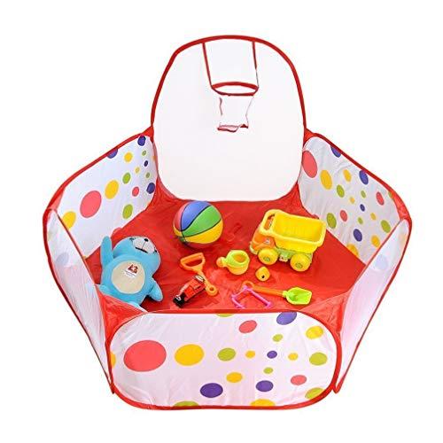 TOYANDONA Pops Up Ballgruben Kinder Ball Pit Spielzelt Faltbares Ball Pool Zelt mit Basketballkorb Reißverschlusstasche für Kleinkinder Indoor Outdoor Baby Laufstall Zubehör 1. 5M