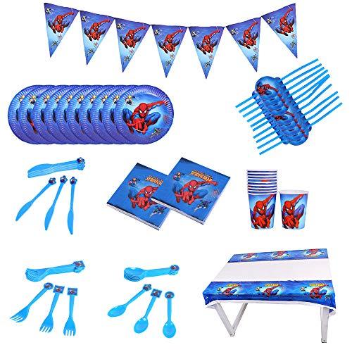 smileh Decoración de Cumpleaños Spiderman Vajilla para Fiestas Incluye Platos Tazas Manteles Servilletas Cuchillos Cucharas Tenedores Pajitas Banderín para Niños