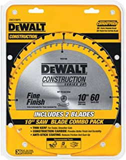 DEWALT 10-Inch Miter / Table Saw Blades, 60-Tooth Crosscutting & 32-Tooth General..