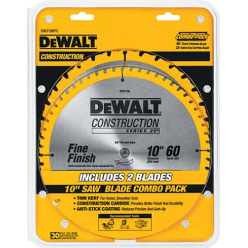 DEWALT 10-Inch Miter / Table Saw Blades, 60-Tooth Crosscutting & 32-Tooth...
