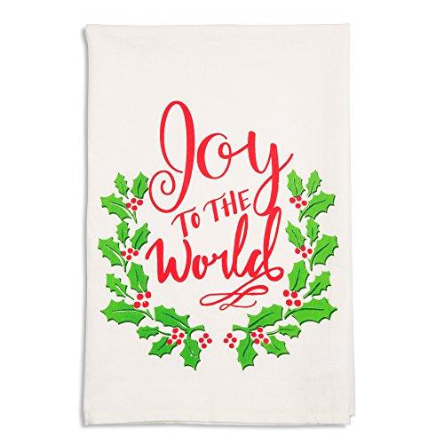 Holiday Hoopla 81542 Joy to the World - Strofinaccio natalizio, colore: Bianco
