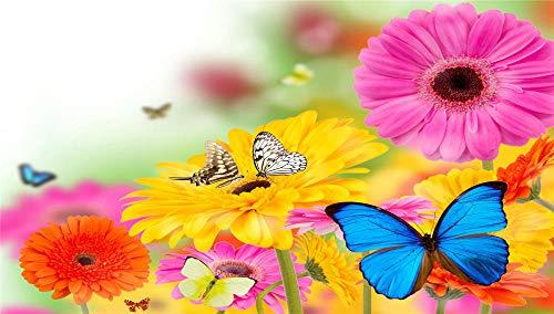 Jigsaws Puzzel,Puzzels Gerbera'S Vlinders Bloemen Zomer,Diy Houten Puzzle 500 Stukjes, Legpuzzels Voor Volwassen Kinderspeelgoedspel (52 * 38Cm)