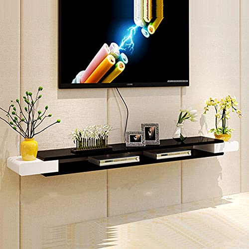 QLIGHA Estante Flotante de TV Niveles Soporte de TV Montado En La Pared Consola Estantes Flotantes Gabinete de TV Colgante para Cajas de Cable Enrutadores Controles