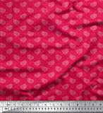 Soimoi Rosa Samt Stoff dot & Paisley gedruckt Craft Fabric