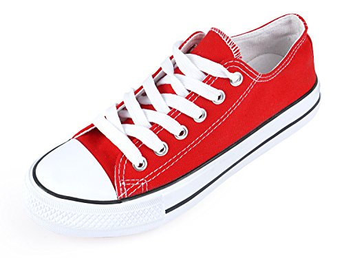 SUNJIN ACRO Unisex Canvas Low Top Sneaker Lace up Classic Casual Shoes(Red,12 Women / 10 Men)-346