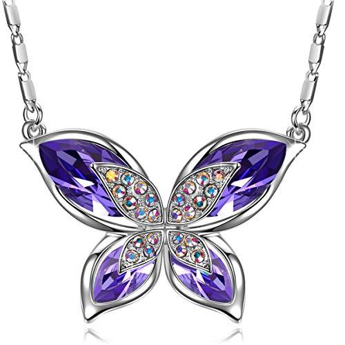 J.RENEÉ Colgante Mujer, con Cristal de Swarovski, Joyas para Mujer, Regalos Mujer, Collar Mariposa Púrpura
