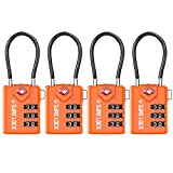 SURE LOCK TSA Compatible Travel Luggage Locks, Inspection Indicator, Easy Read Dials - 1, 2 & 4 Pack (4pack, Orange)