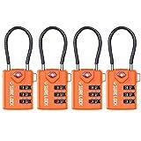 SURE LOCK TSA Compatible Travel Luggage Locks, Inspection Indicator, Easy Read Dials - 1, 2 & 4 Pack (4pack, Orange)