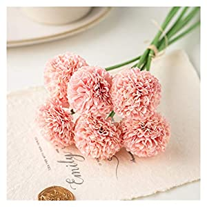 NBGF 1 Bunch 6 Pieces of Artificial Plastic Lilac, Small Ball Chrysanthemum, Flower Arrangement Wedding Decoration (Color : Pink)