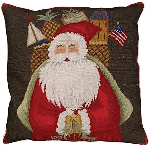 EuroLux Home Throw Pillow Petit Point Center Gifts Santa Max 40% OFF with 18 2021 model