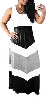 Women Stripe Stitching Color Block High Waist Maxi Long Dress Patchwork Dress