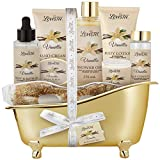 Spa Gift Basket for Women, Vanilla Bath & Body Set, Christmas, Mother's Day & Birthday Gift, Includes Shower Gel, Body Lotion, Hand Cream, Body Scrub, Message Oil, Candle, Eye Mask, Soap Confetti