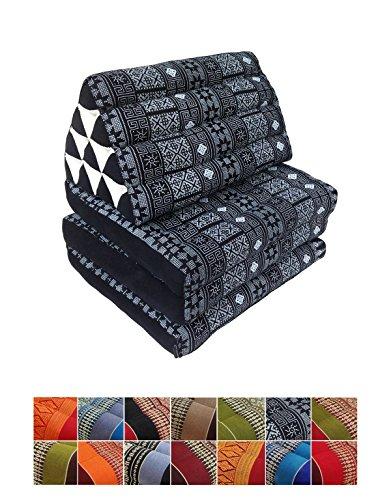 Collumino, materasso da meditazione tradizionale thailandese Kapok a 3 strati, con cuscino reclinabile triangolare in stile orientale, per yoga, massaggi o relax Grigio Batik