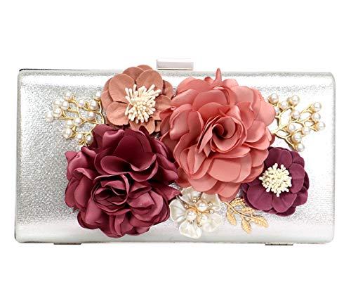 Cartera Mano Mujer Bolso Noche Clutch Diamante Cadena Bolso Ceremonia Boda Fiesta Flor Plateado