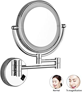 6in LED Lighted Vanity Makeup Mirror,Wall Mount Double Sided Extendable 7X Magnifying Shaving Mirror