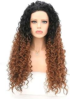 شعر مستعار طويل مجعد من الألياف الكيميائية باللون الأسود المتدرج بتموجات بنية صغيرة بتموجات بنية صغيرة مجعدة صناعية