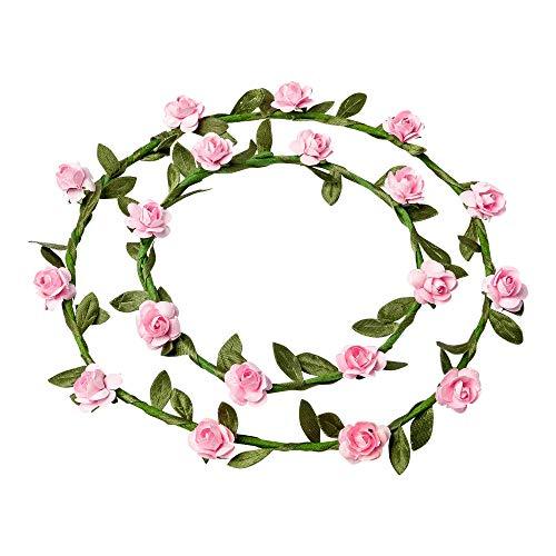 ARTI 2 couronnes de Fleurs 15 + 10 cm Coloris Rose - décoration Mariage ou fête