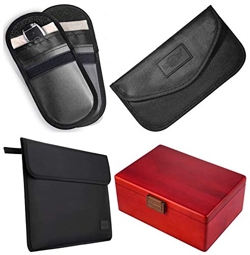 Faraday Cases for Car Key Fob Cell Phone and Laptop and Red Large Faraday Box for Key Fob and Cell Phone Signal Blocker
