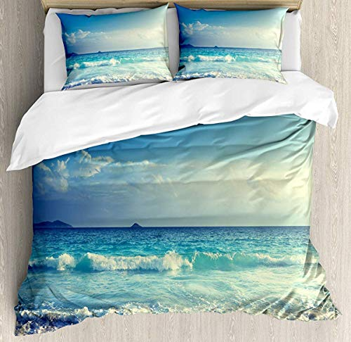 Asaffs Juego de cama de 3 piezas con 2 fundas de almohada, color crema y turquesa