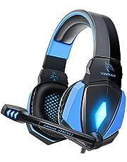 YINSAN Cascos Gaming, Auriculares Premium Stereo con Micrófono, Luz LED y Control Volumen, Diadema Acolchada y Ajustable para PS4/Xbox One X/S/PC/Laptop/Tablet